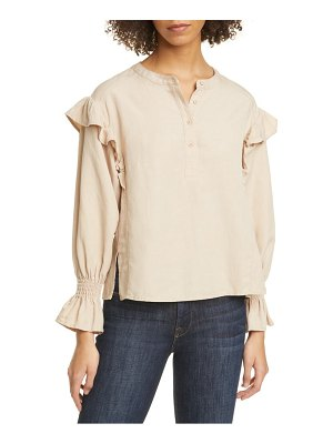 Joie polli ruffle detail long sleeve blouse