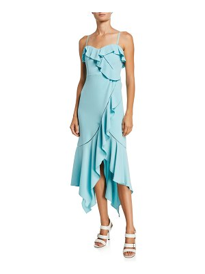JONATHAN SIMKHAI Asymmetric Crepe Ruffle Dress