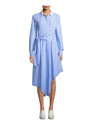 JONATHAN SIMKHAI Asymmetric Long-Sleeve Wrapped Oxford Dress