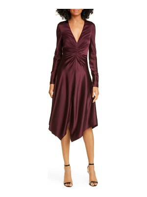 JONATHAN SIMKHAI crepe back satin long sleeve handkerchief dress