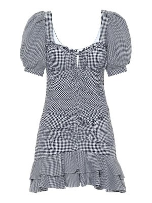 JONATHAN SIMKHAI gingham cotton and linen minidress