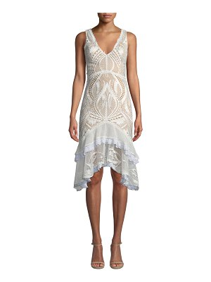 JONATHAN SIMKHAI Guipure Lace V-Neck Tiered Cocktail Dress