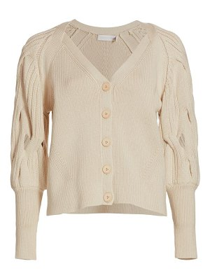 JONATHAN SIMKHAI kinley open cable knit puff-sleeve cardigan