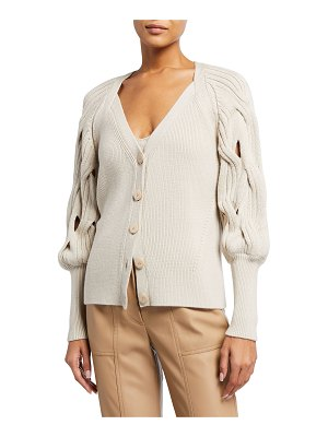 JONATHAN SIMKHAI Kinley Open Cable-Knit Puff-Sleeve Cardigan