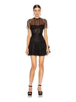 JONATHAN SIMKHAI lace bustier mini ruffle dress