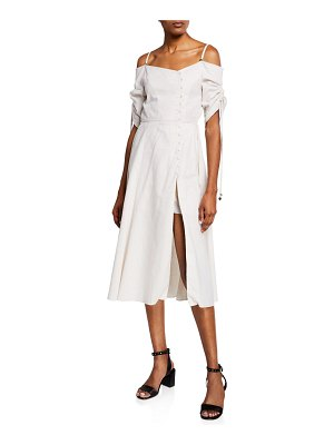 JONATHAN SIMKHAI Off-Shoulder Slit-Front Midi Dress