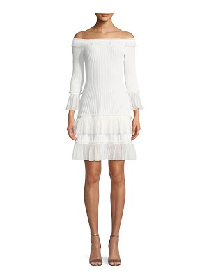 JONATHAN SIMKHAI Off-the-Shoulder Pleated Tulle Fit-and-Flare Dress