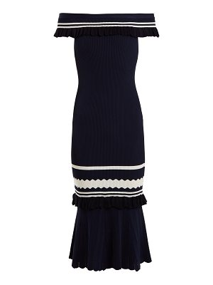 JONATHAN SIMKHAI Off-the-shoulder striped-knit dress