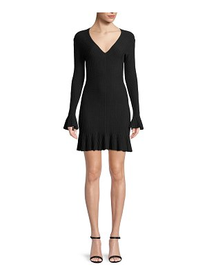 JONATHAN SIMKHAI Ribbed V-Neck Long-Sleeve Mini Dress