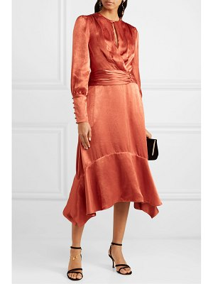 JONATHAN SIMKHAI ruched hammered-satin midi dress