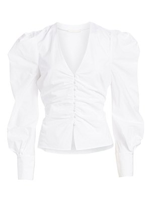 JONATHAN SIMKHAI ruched puff-sleeve button-front blouse