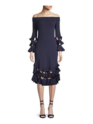 JONATHAN SIMKHAI Ruffle Off-the-Shoulder Bell Sleeve Dress