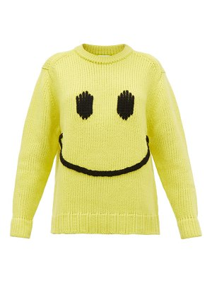 JoosTricot smiley-embroidered wool-blend sweater