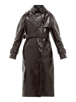 Joseph belted vinyl coated wool blend trench coat