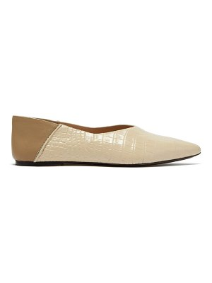 Joseph crocodile-effect leather collapsible-heel flats