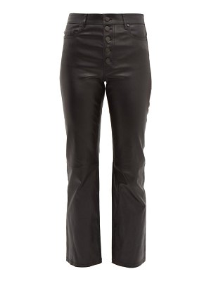 Joseph den leather kick flare trousers