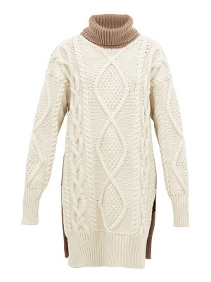 Joseph oversized roll neck cable knit wool blend sweater