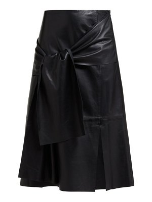 Joseph renne tie front leather midi skirt