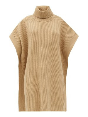 Joseph roll-neck rib-knitted wool poncho