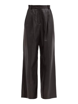 Joseph tima pleated leather wide-leg trousers