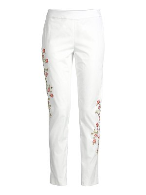 Josie Natori floral-embroidered pants