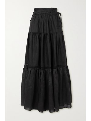 Joslin + net sustain florence belted tiered linen and ramie maxi skirt