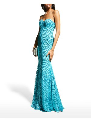Jovani Strapless Sequined Mermaid Gown