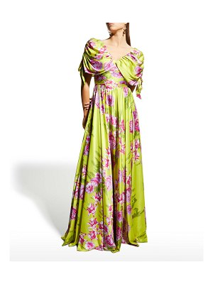 Jovani Floral-Print Ruched Drape-Sleeve A-Line Gown