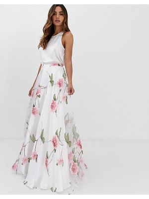 Jovani floral seperate a line maxi skirt with top-white