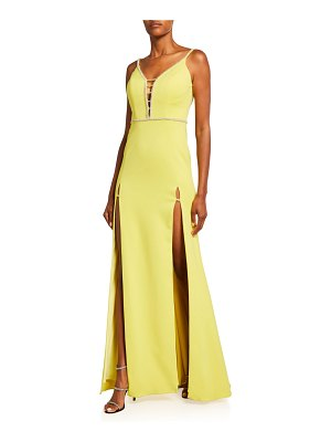 Jovani Lace-Up Back Sleeveless Gown w/ High Slits