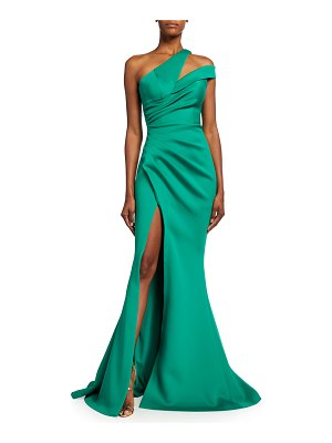 Jovani One-Shoulder Ruched Scuba Mermaid Gown