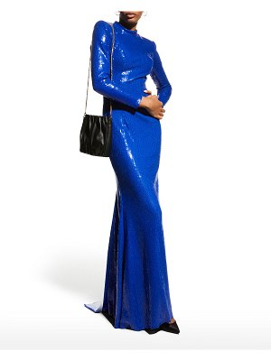 Jovani Sequined High-Neck Long-Sleeve Gown