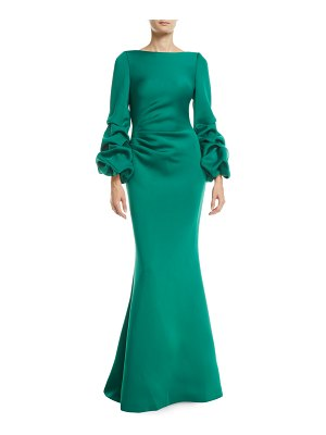 Jovani Shirred Balloon-Sleeve Gown