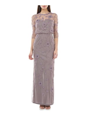 JS Collections beaded & embroidered column gown