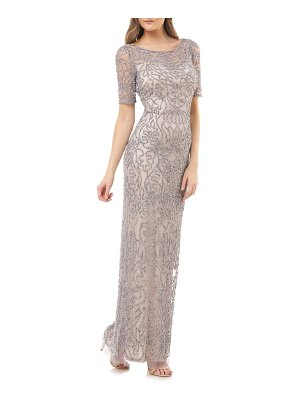 JS Collections beaded illusion lace column gown