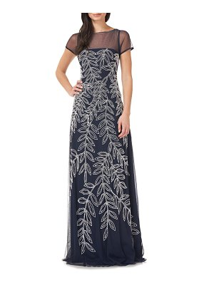 JS Collections beaded illusion neck gown