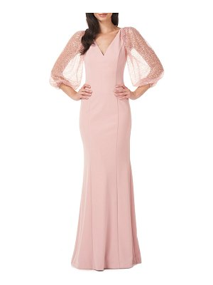 JS Collections beaded illusion sleeve trumpet gown