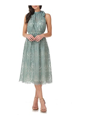 JS Collections embroidered halter neck cocktail midi dress