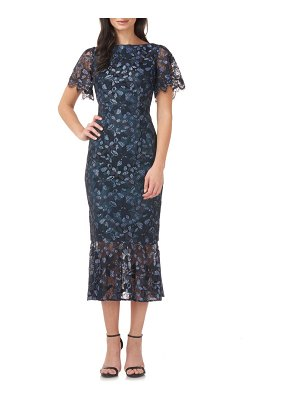 JS Collections embroidered lace midi dress