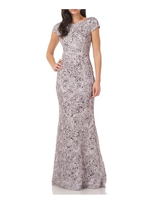 JS Collections embroidered short sleeve trumpet gown