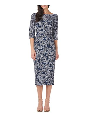JS Collections floral embroidered cocktail sheath