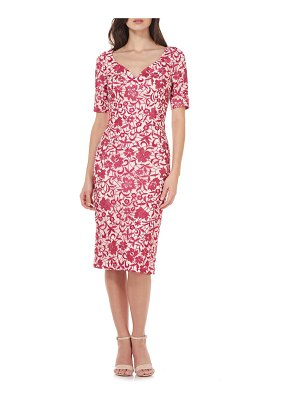 JS Collections floral embroidered mesh sheath dress