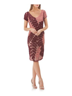 JS Collections leaf soutache v-neck sheath dress