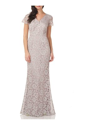 JS Collections metallic lace mermaid gown