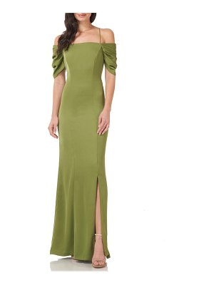 JS Collections off the shoulder cascade gown