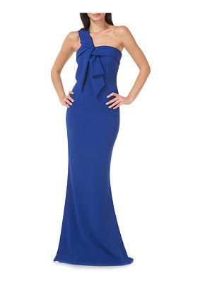 JS Collections one-shoulder crepe gown