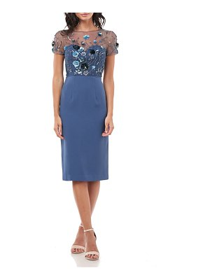 JS Collections sequin bodice crepe cocktail dress