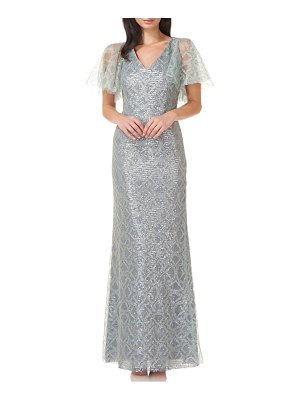 JS Collections sequin cape sleeve a-line gown