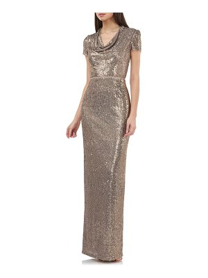 JS Collections sequin cowl neck column gown