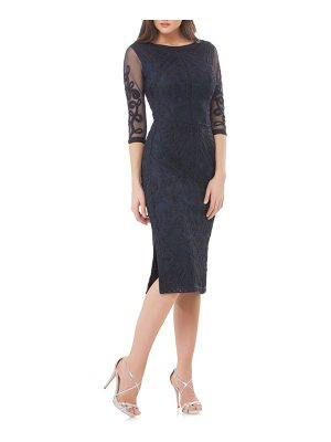 JS Collections sheer sleeve soutache sheath dress